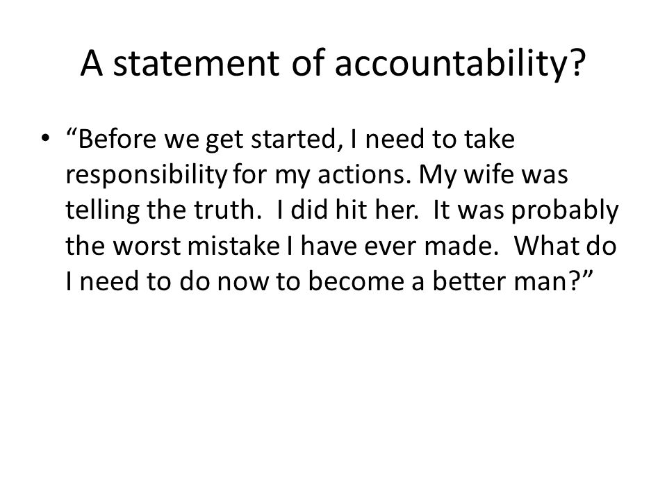 A statement of accountability