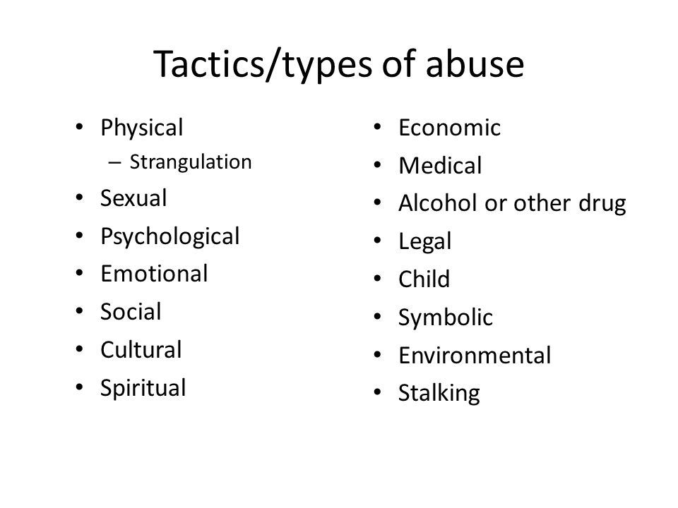 Tactics/types of abuse