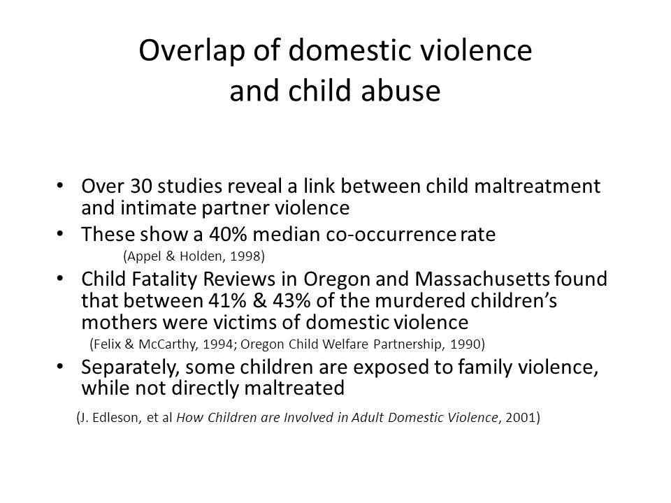Overlap of domestic violence and child abuse