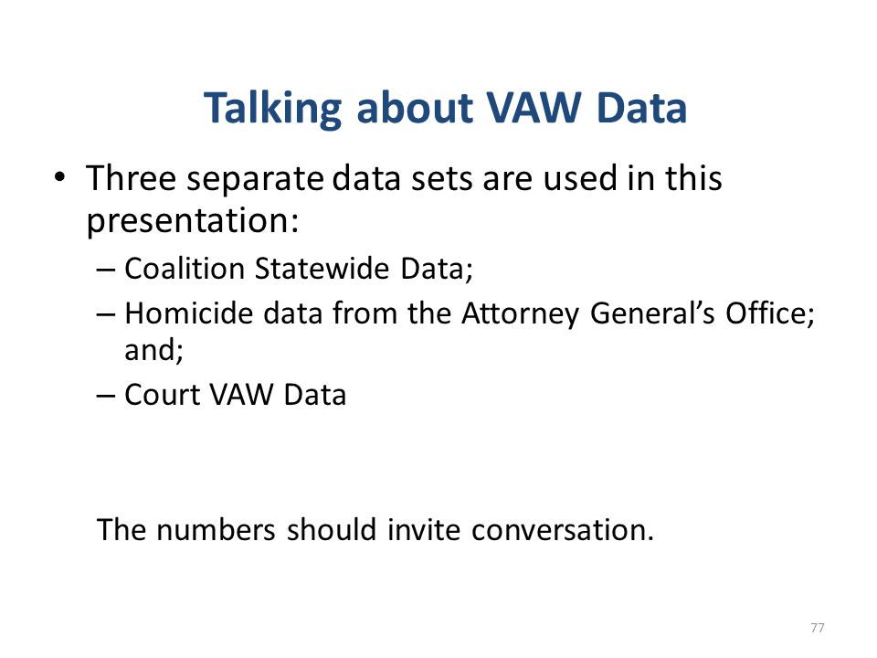 Talking about VAW Data Three separate data sets are used in this presentation: Coalition Statewide Data;
