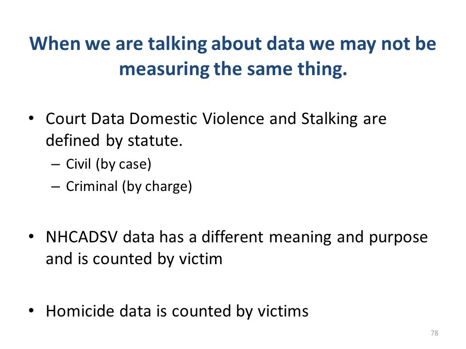 When we are talking about data we may not be measuring the same thing.