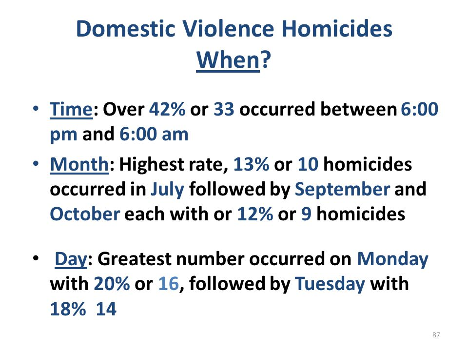 Domestic Violence Homicides When