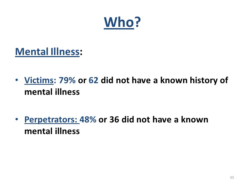 Who Mental Illness: Victims: 79% or 62 did not have a known history of mental illness. Perpetrators: 48% or 36 did not have a known mental illness.