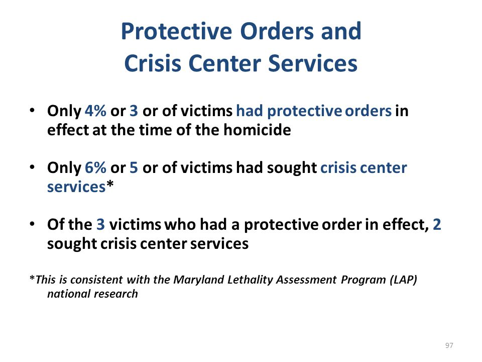 Protective Orders and Crisis Center Services