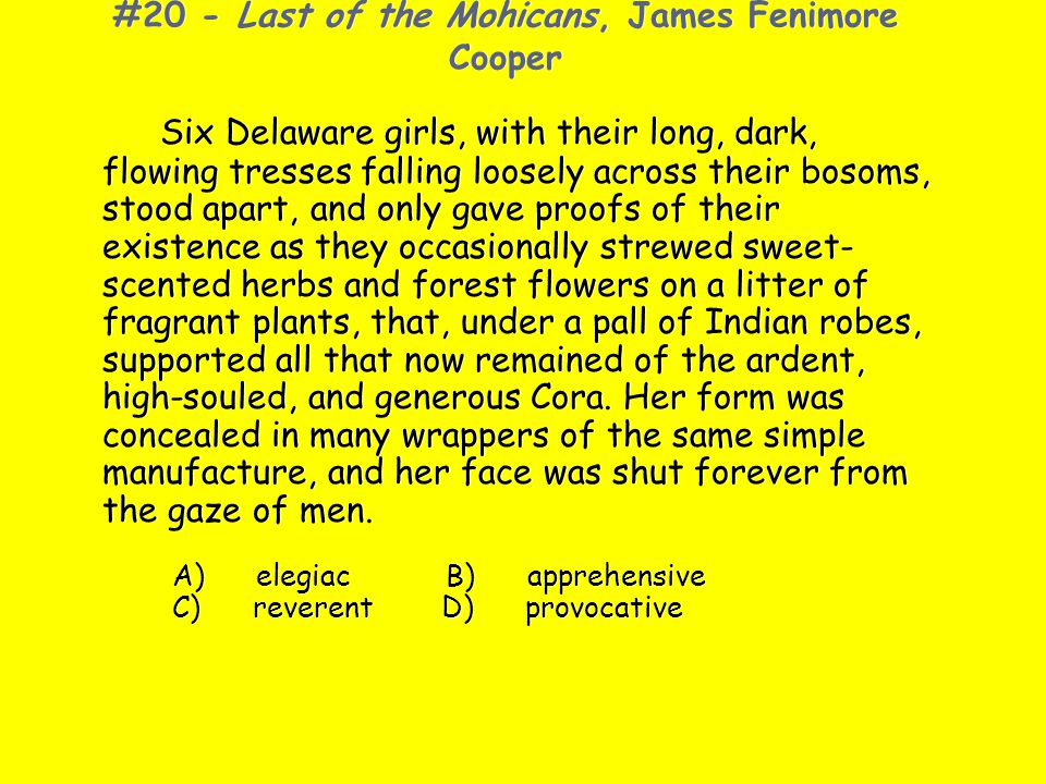 #20 - Last of the Mohicans, James Fenimore Cooper