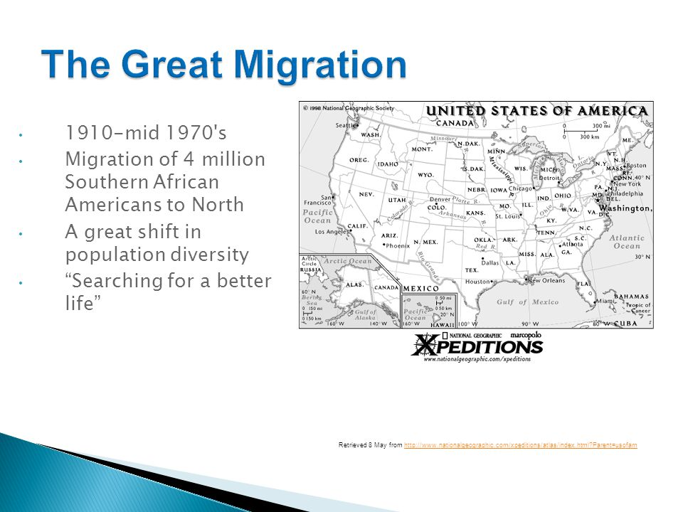 The Great Migration 1910-mid 1970 s