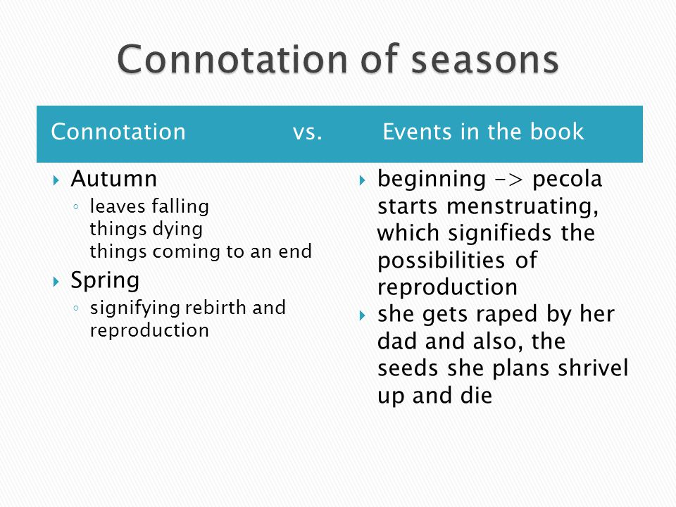 Connotation of seasons