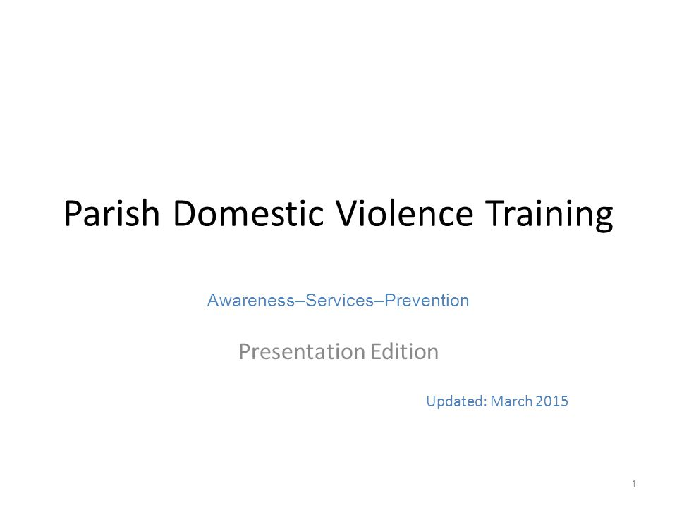 Parish Domestic Violence Training
