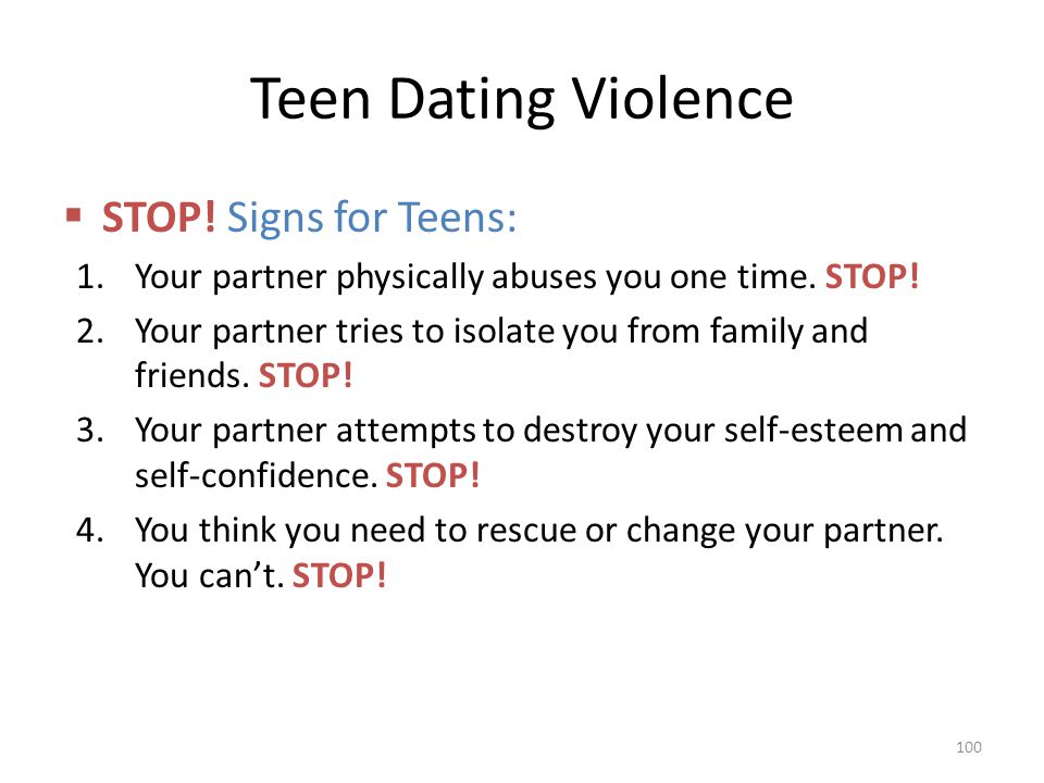 Teen Dating Violence STOP! Signs for Teens: