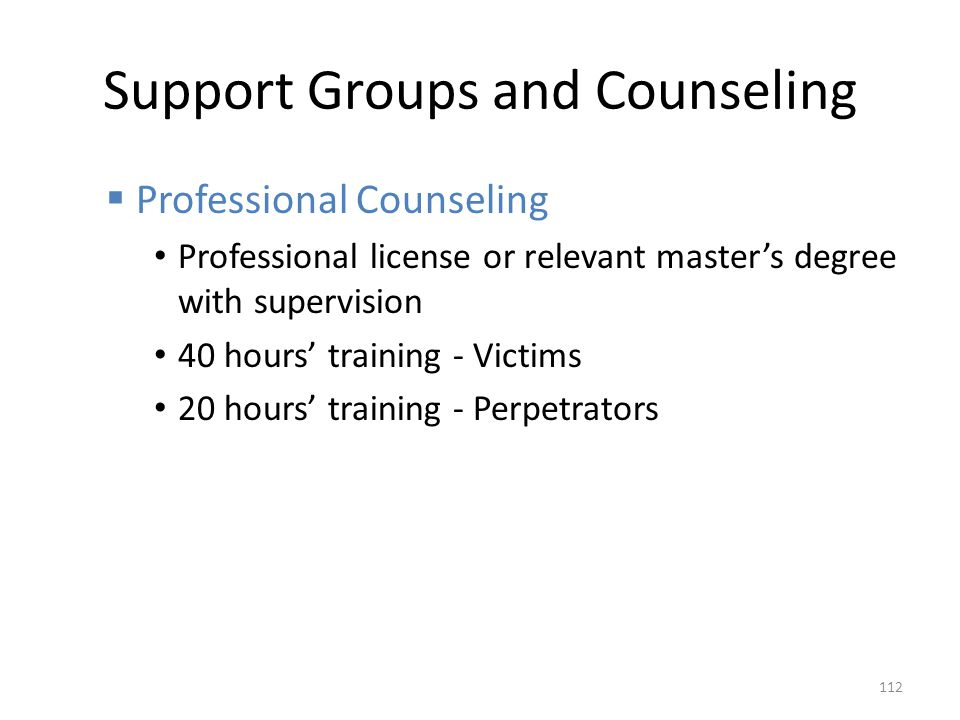 Support Groups and Counseling