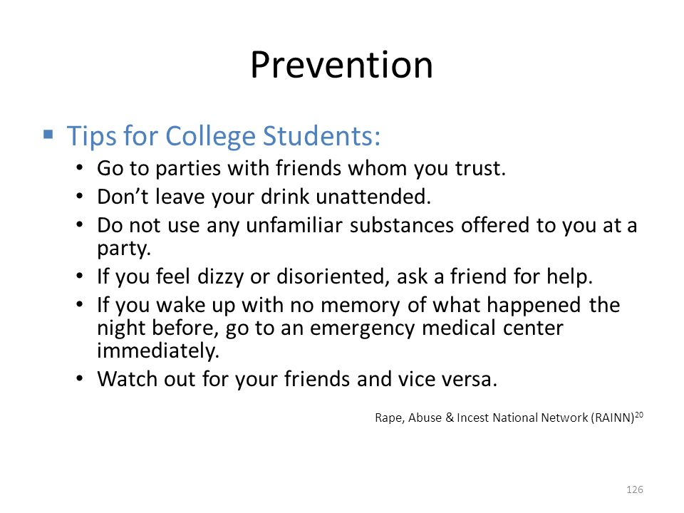 Prevention Tips for College Students: