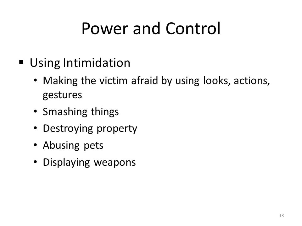 Power and Control Using Intimidation