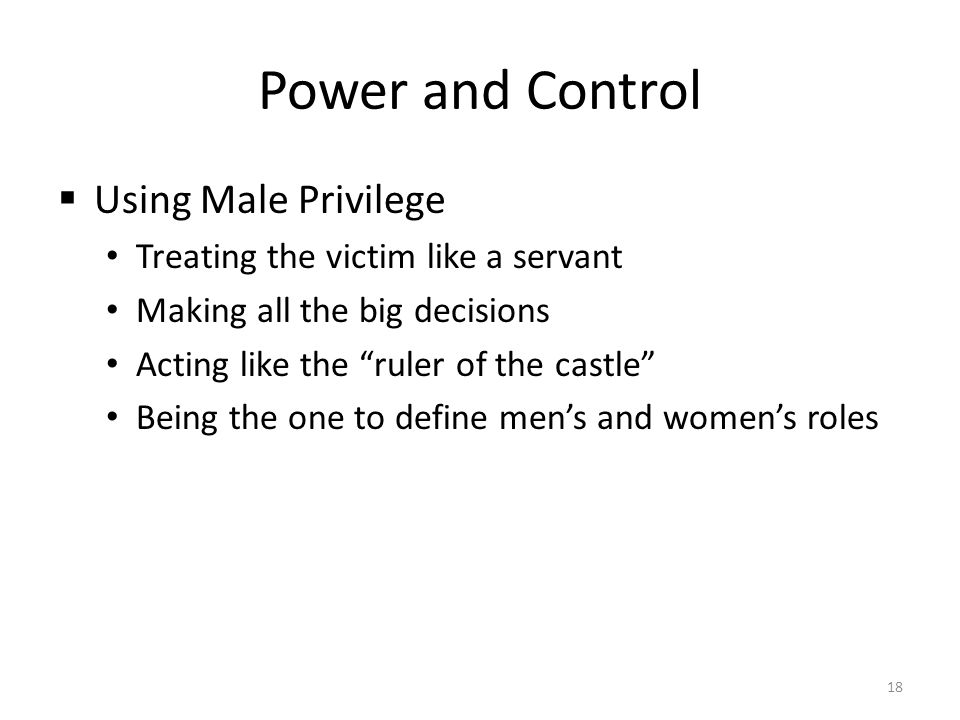 Power and Control Using Male Privilege