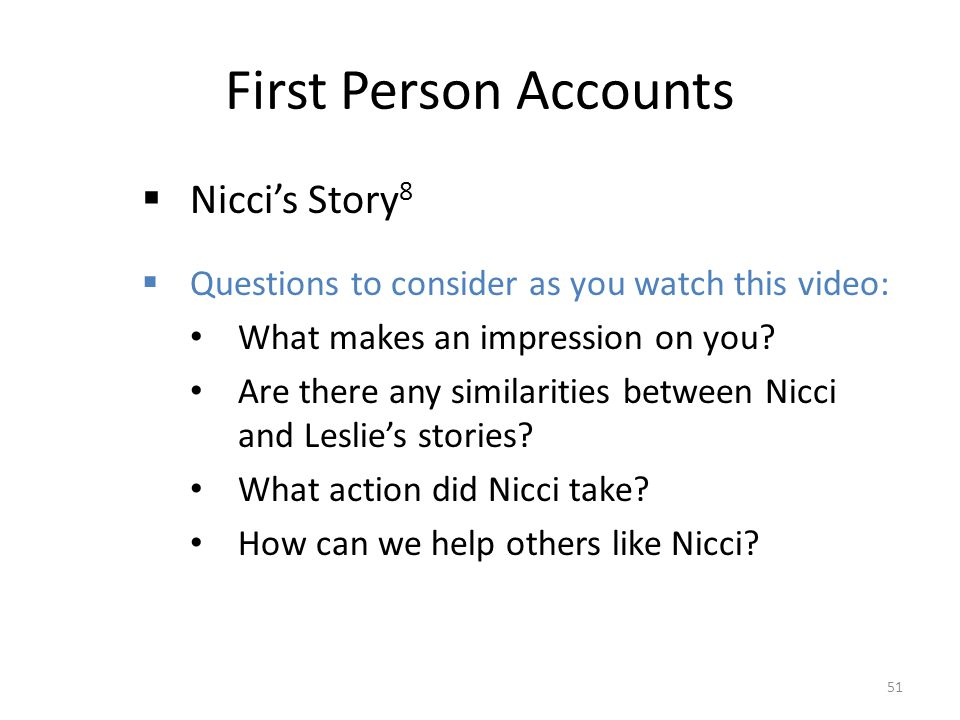 First Person Accounts Nicci's Story8