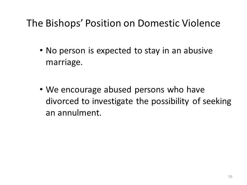 The Bishops' Position on Domestic Violence