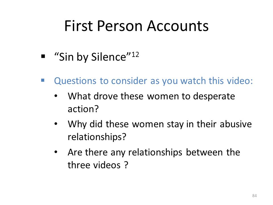 First Person Accounts Sin by Silence 12