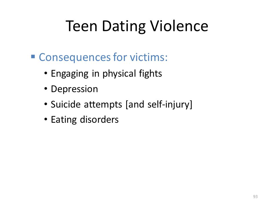 Teen Dating Violence Consequences for victims: