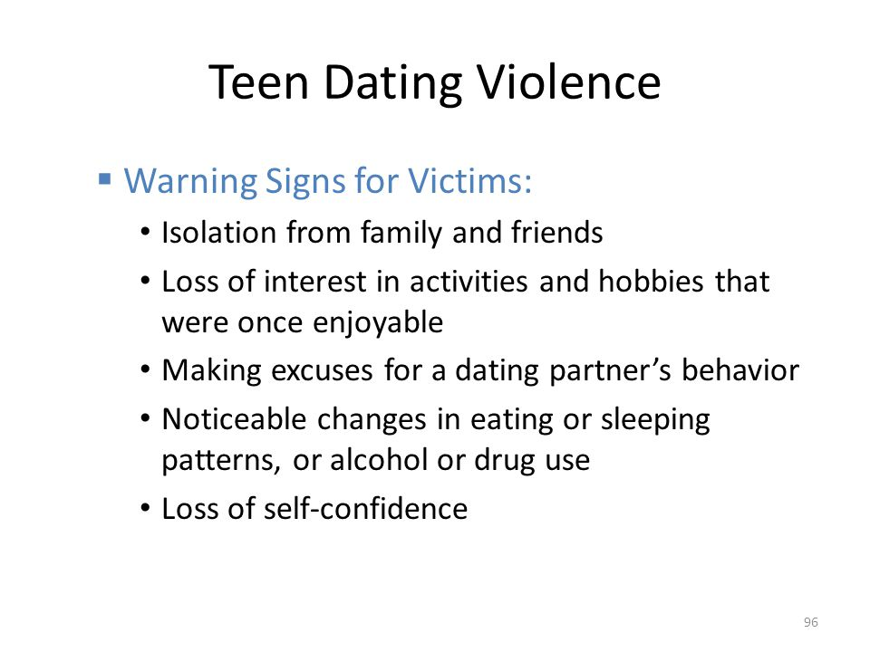 Teen Dating Violence Warning Signs for Victims: