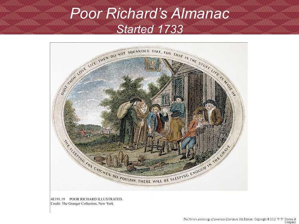 Poor Richard's Almanac Started 1733