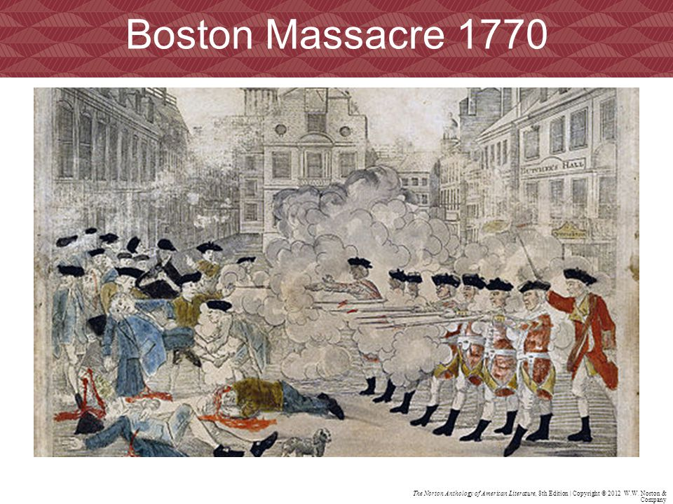 Boston Massacre 1770 An engraving by Paul Revere depicting events.