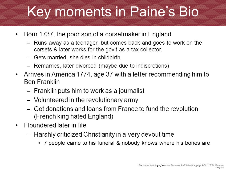 Key moments in Paine's Bio