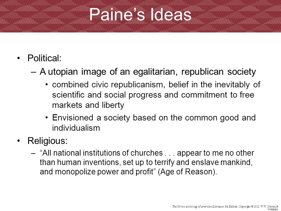 Paine's Ideas Political: