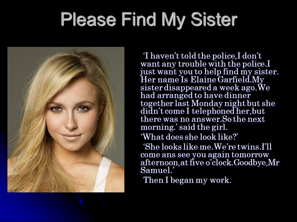 Please Find My Sister
