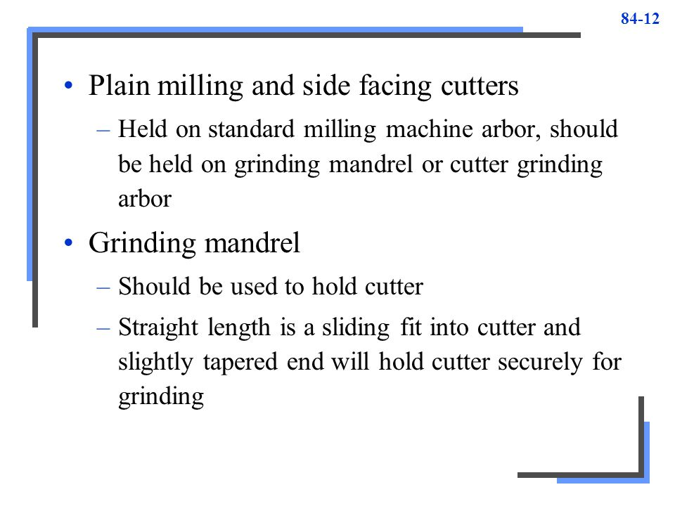 Plain milling and side facing cutters