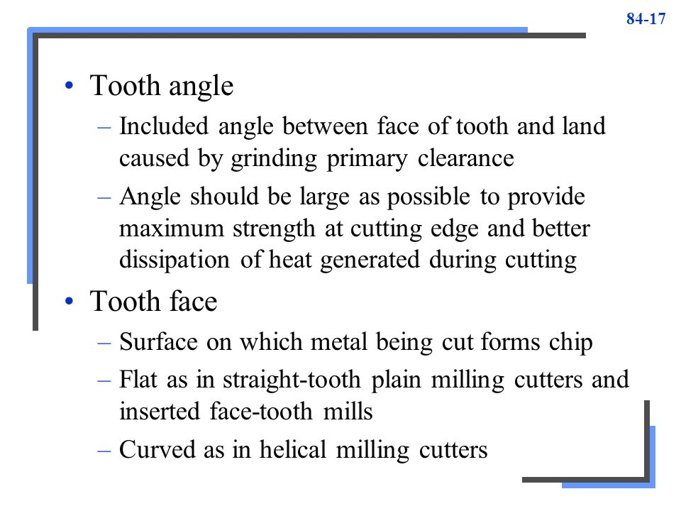 Tooth angle Included angle between face of tooth and land caused by grinding primary clearance.