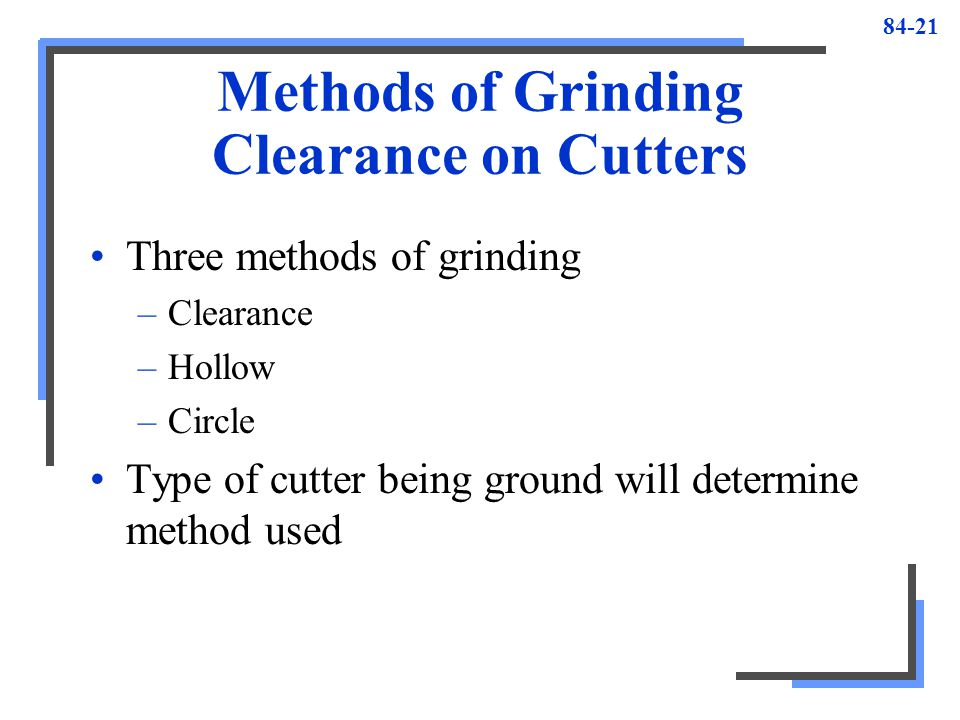 Methods of Grinding Clearance on Cutters