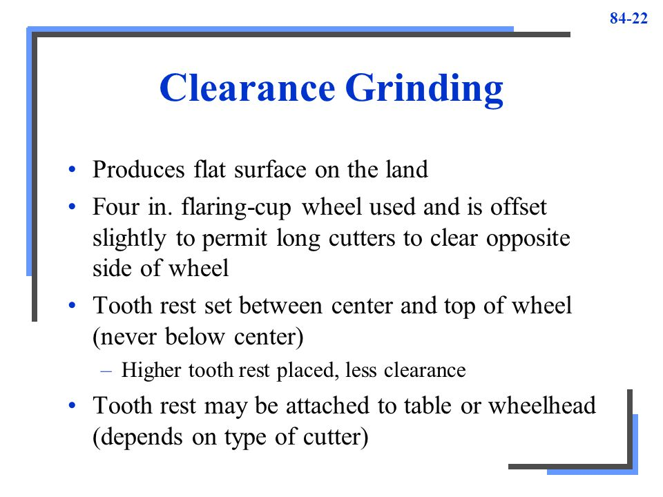 Clearance Grinding Produces flat surface on the land