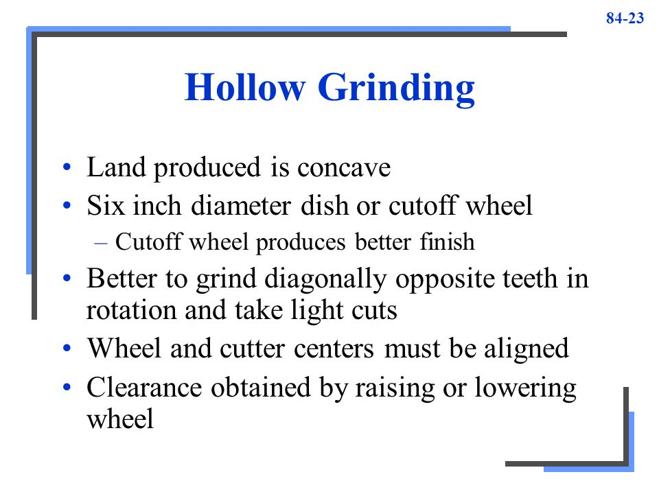Hollow Grinding Land produced is concave