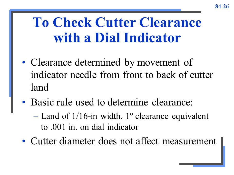 To Check Cutter Clearance with a Dial Indicator