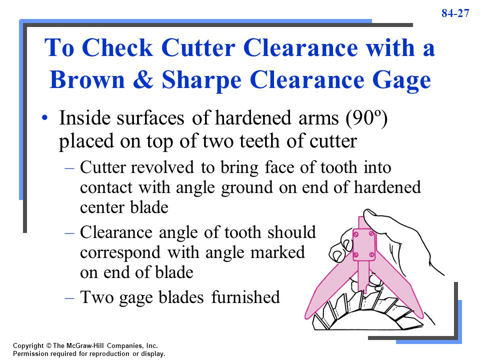 To Check Cutter Clearance with a Brown & Sharpe Clearance Gage