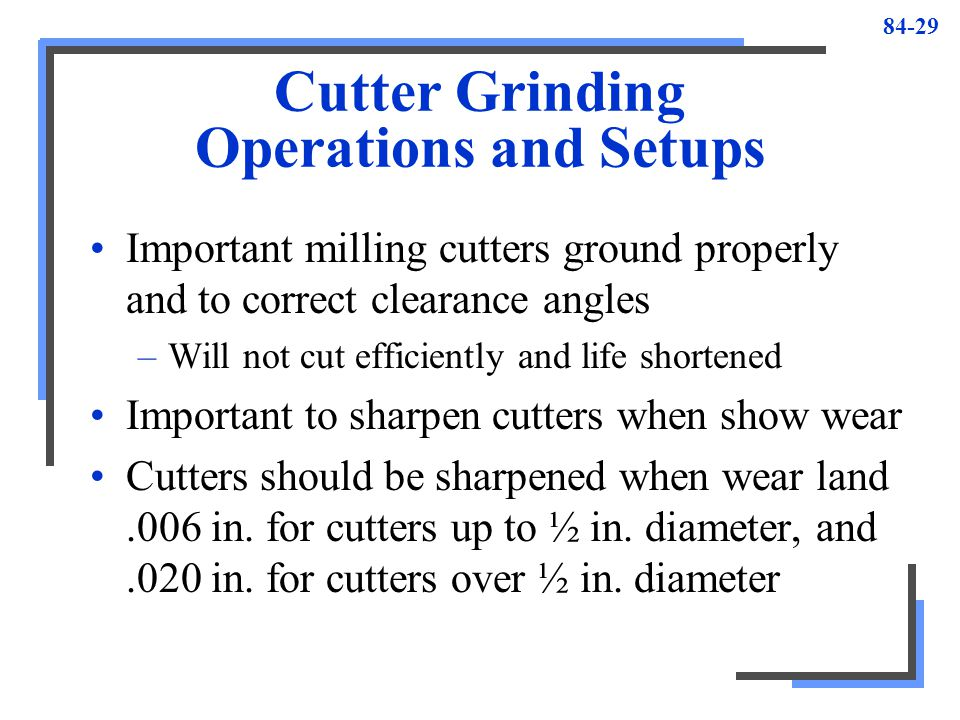 Cutter Grinding Operations and Setups