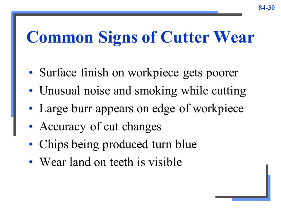 Common Signs of Cutter Wear