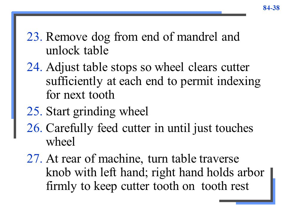 Remove dog from end of mandrel and unlock table