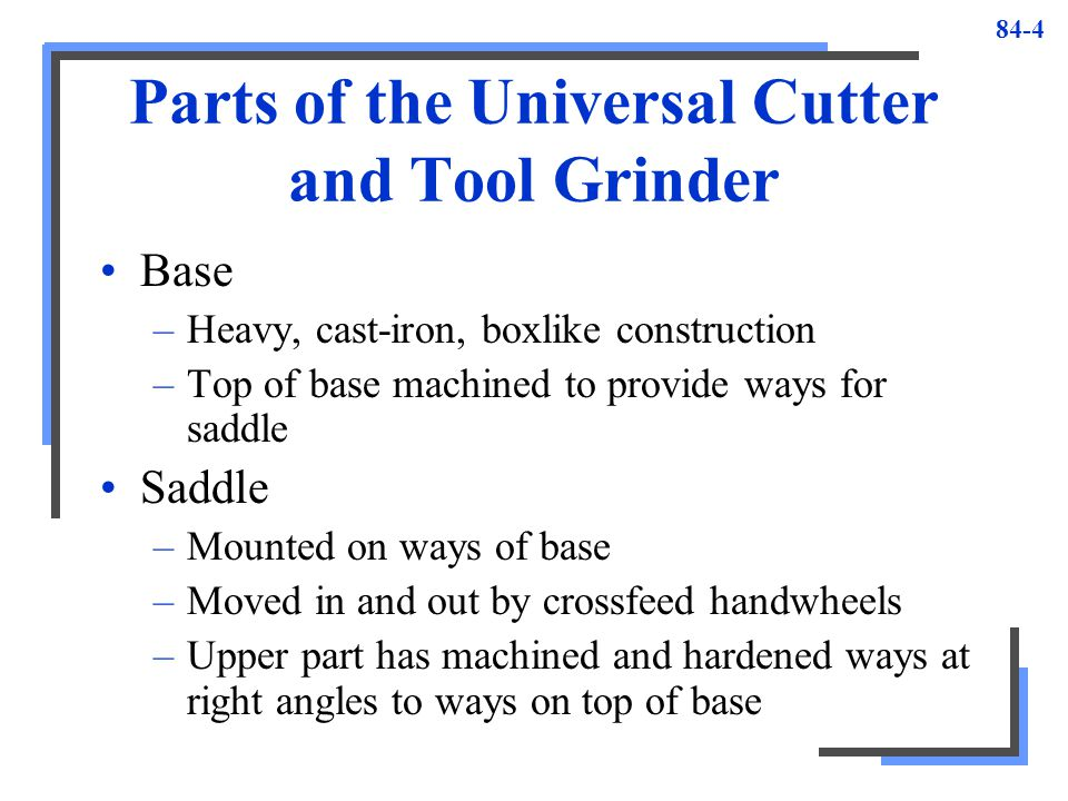 Parts of the Universal Cutter and Tool Grinder