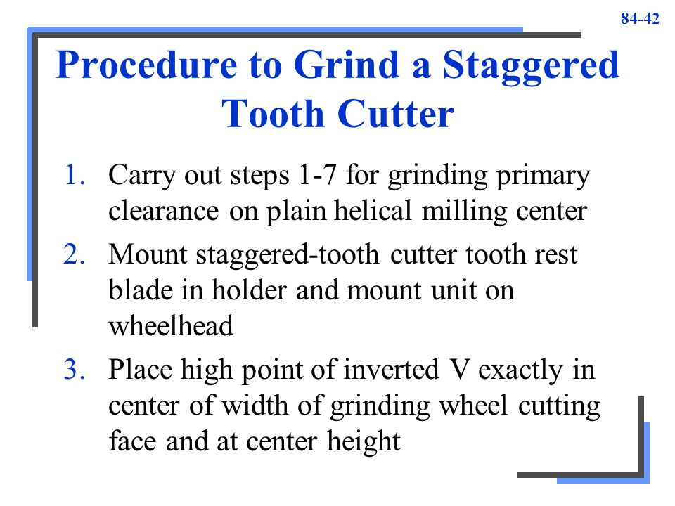 Procedure to Grind a Staggered Tooth Cutter