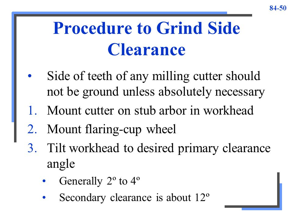 Procedure to Grind Side Clearance