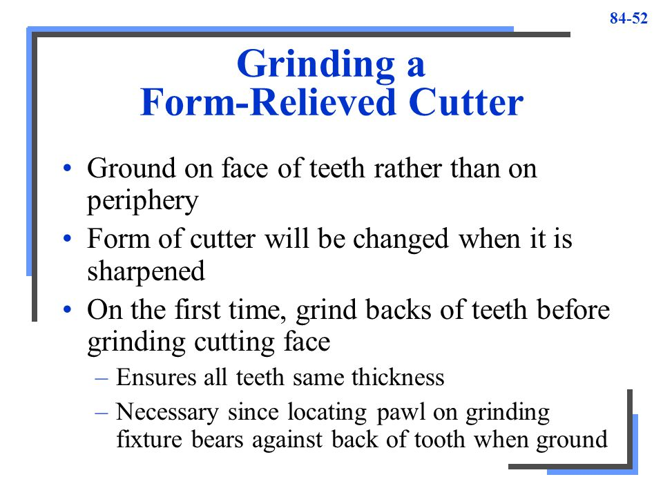 Grinding a Form-Relieved Cutter