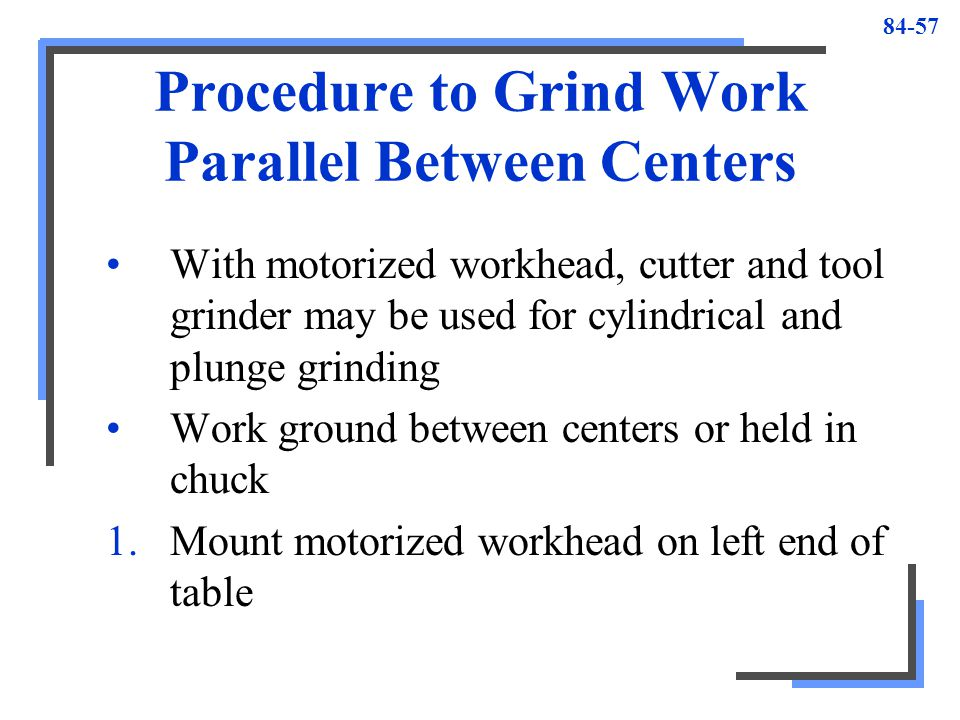 Procedure to Grind Work Parallel Between Centers