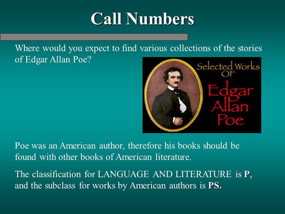 Call Numbers Where would you expect to find various collections of the stories of Edgar Allan Poe