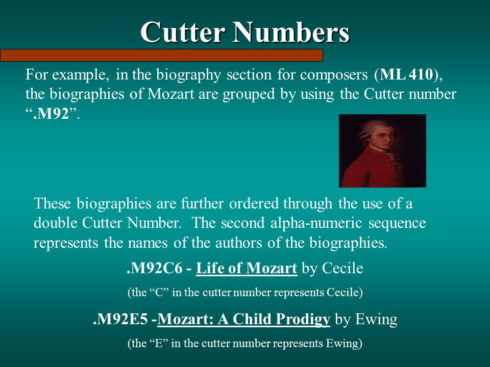 Cutter Numbers For example, in the biography section for composers (ML 410), the biographies of Mozart are grouped by using the Cutter number .M92 .