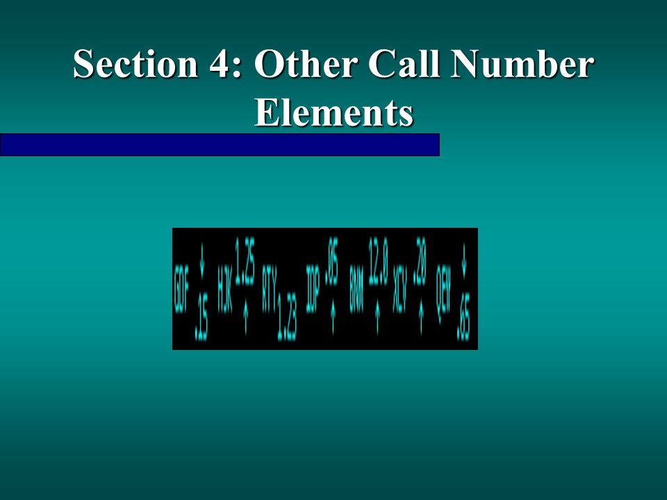 Section 4: Other Call Number Elements
