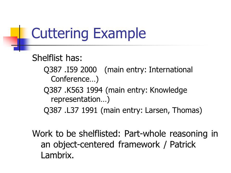 Cuttering Example Shelflist has: