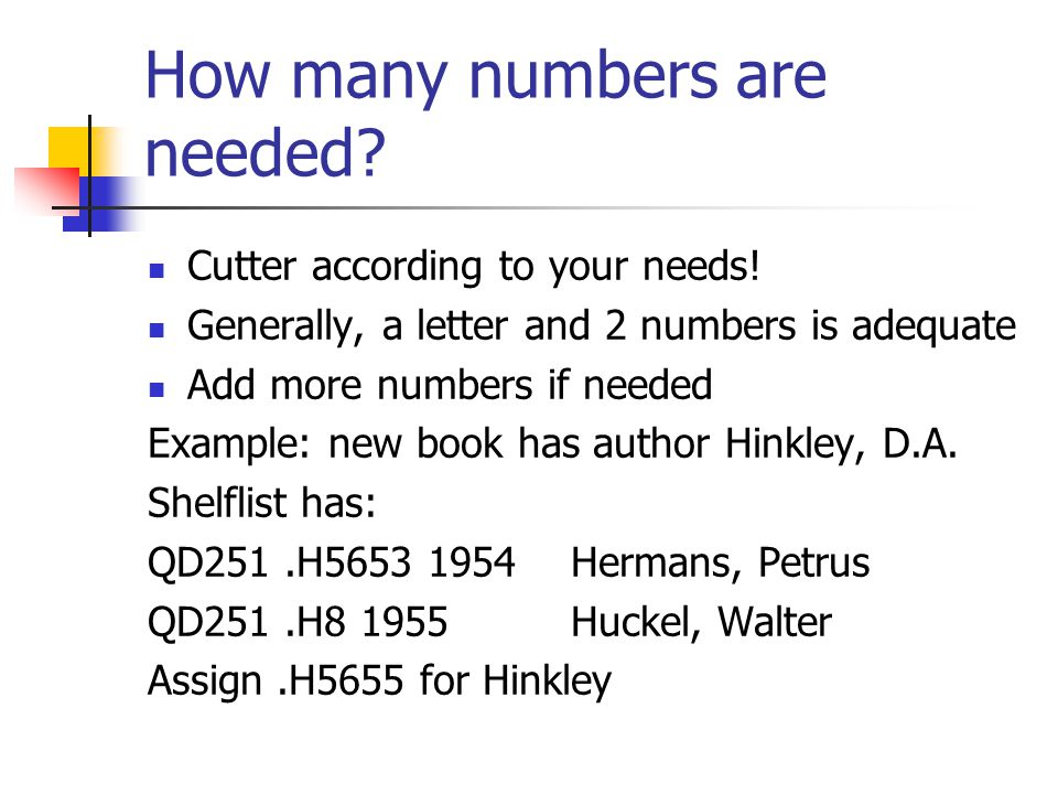 How many numbers are needed