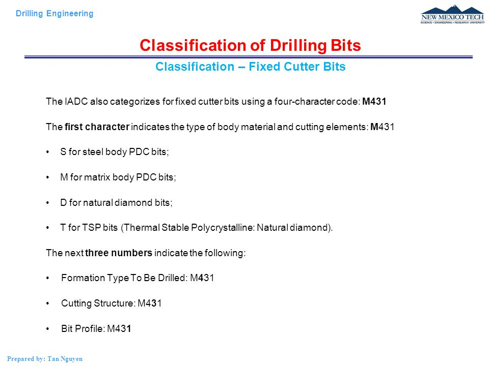 Classification of Drilling Bits Classification – Fixed Cutter Bits