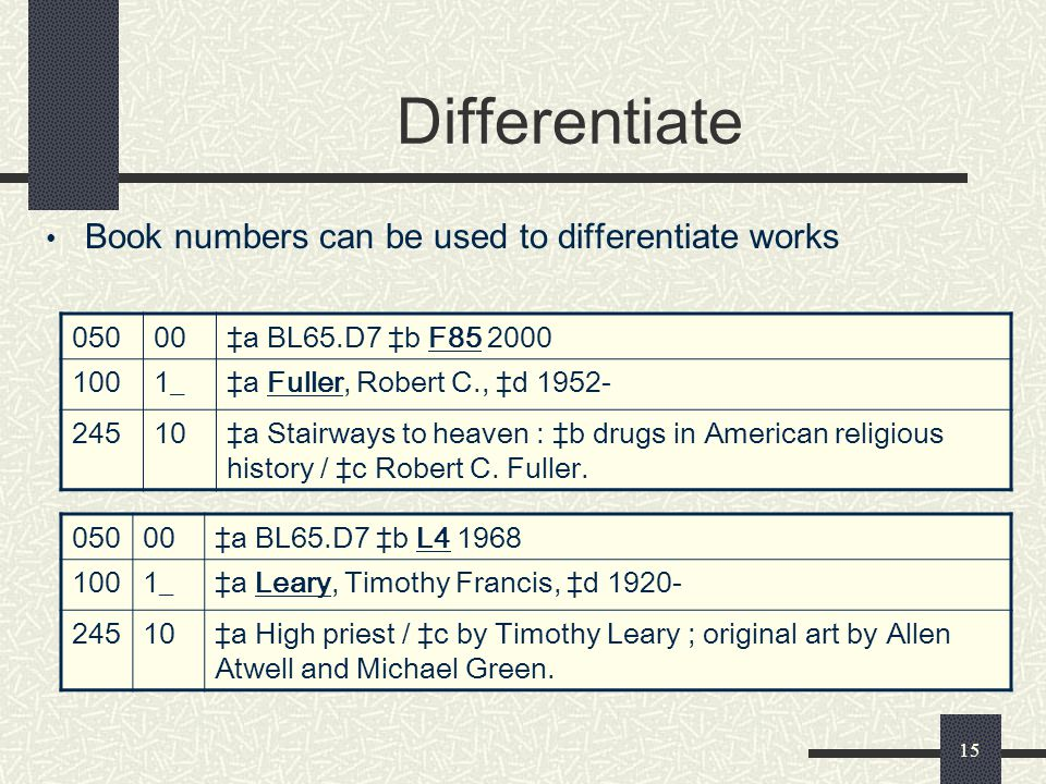 Differentiate Book numbers can be used to differentiate works 050 00