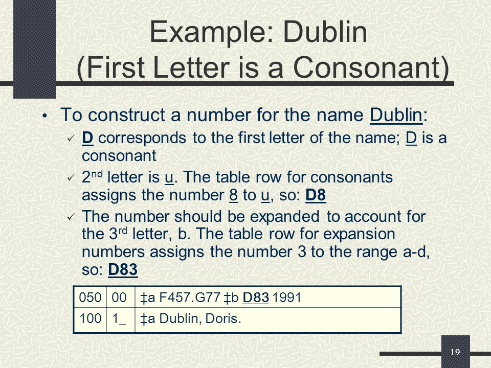 Example: Dublin (First Letter is a Consonant)